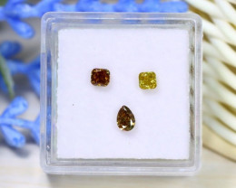 0.55Ct 3Pcs Yellow Champagne Diamond Untreated Genuine Diamond A1430