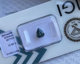 RARE 1.08ct Colour Change Sapphire Green Blue Pear Teardrop Cut IGI CERTIFI