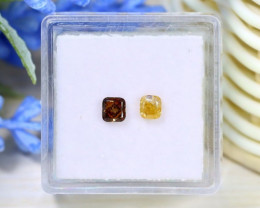 0.57Ct 2Pcs Orange Yellow Diamond Natural Fancy Diamond C1402