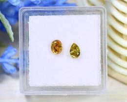0.60Ct 2Pcs Yellow Orange Diamond Untreated Genuine Diamond C1419