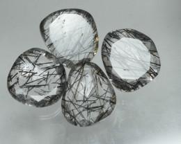 7.635 Crt 4 Pcs Amazing Black Rutile Beautiful Quartz faceted -