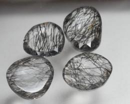 10.610 Crt 4 Pcs Amazing Black Rutile Beautiful Quartz faceted -