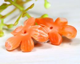 Coral 8.42Ct 2Pcs Natural Untreated Carving Japan Pink Coral A1823
