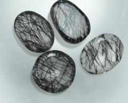 7.630 Crt 4 Pcs Amazing Black Rutile Beautiful Quartz faceted -