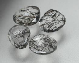 4.710 Crt 4 Pcs Amazing Black Rutile Beautiful Quartz faceted -