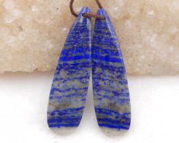 D2017 - 37.5cts blue lapis lazuli water drop earrings bead pair,natural lap