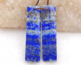 D2019 - 45cts blue lapis lazuli Strip shape earrings bead pair,natural lapi