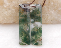 D2027 - 40cts moss agate strip earrings bead pair,natural moss agate gemsto