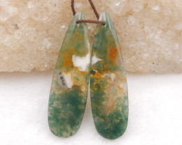 D2028 - 30cts moss agate water drop earrings bead pair,natural moss agate g