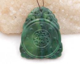 D2029 - 88cts african Jade handmade carved pendant bead,natural gemstone pe