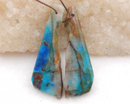 D2030 - 38cts Chrysocolla earrings bead pair,natural gemstone ,high quality
