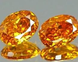 *NR* Vivid Yellow Orange Diamond Pair 0.30Ct NO TREATMENT