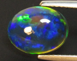 2.27Cts Natural Earth Mined Color Play Black Opal Oval Cabochon Gem REF VOD