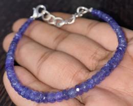 27.15 Crt Natural Tanzanite Faceted Beads Bracelet