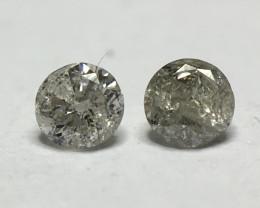 0.10 Ct 2 x Salt and Pepper I3 - Pique Round Brilliant Melee Diamonds