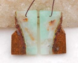 D2036 - 30.5cts Chrysoprase free type earrings bead pair,natural gemstone n