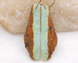 D2037 - 43cts Chrysoprase free type earrings bead pair,natural gemstone nug
