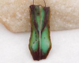 D2039 - 49.5cts Chrysoprase free type earrings bead pair,natural gemstone n