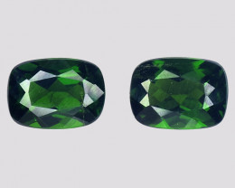 Chrome Diopside 2.21 Cts 2Pcs Natural Green Color Gemstone