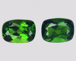 Chrome Diopside 2.22 Cts 2Pcs Natural Green Color Gemstone