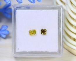 Yellow Green Diamond 0.45Ct 2Pcs Untreated Genuine Diamond A1601