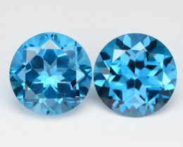 *NoReserve*Topaz 6.12 Cts 2Pcs London Blue Natural Gemstones