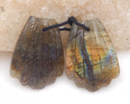 D2052 - 35cts beautiful labradorite carved leave earrings bead pair,natural