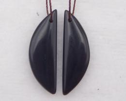 D2058 - 18cts obsidian earrings bead pair , natural gemstone earrings