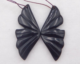 D2063 - 50cts obsidian carved earrings bead pair , natural gemstone earring
