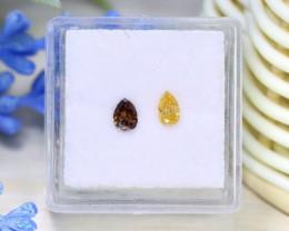 0.43Ct 2Pcs Yellow Champagne Diamond Untreated Genuine Diamond C1623
