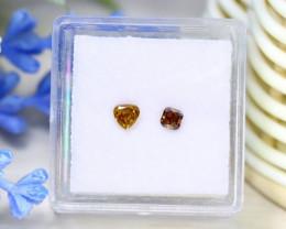 0.39Ct 2Pcs Orange Diamond Untreated Genuine Fancy Diamond C1626
