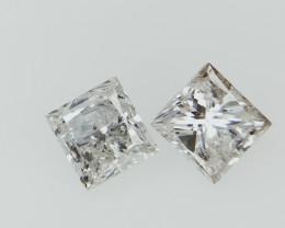 2/0.49 , Natural Off white Diamond , Rare Princess Brilliant cut Diamonds