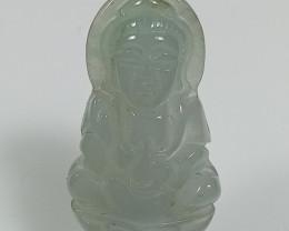 Natural Grade A Jadeite Jade Guan Yin Bodhisattva Carving Pendant
