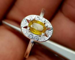 10Crt Sphene 925 Silver Ring Natural Gemstones JI66