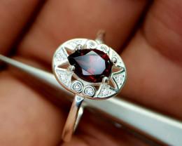 10Crt Rhodolite Garnet 925 Silver Ring Natural Gemstones JI66