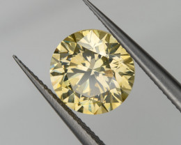 1.86 Ct. Fancy Green Yellow Loose Natural Diamond Round VS2 7.6mm for Gold Ring
