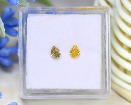 0.30Ct 2Pcs Yellow Diamond Untreated Genuine Fancy Diamond B1713