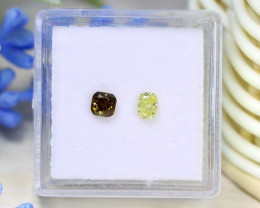 0.52Ct 2Pcs Green Yellow Diamond Untreated Genuine Diamond B1725