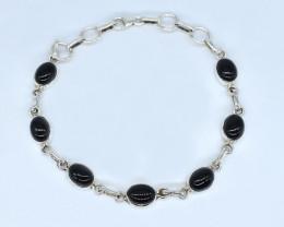BLACK ONYX BRACELET NATURAL GEM 925 STERLING SILVER AB99