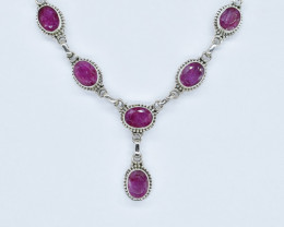 RUBY NECKLACE NATURAL GEM 925 STERLING SILVER AN99