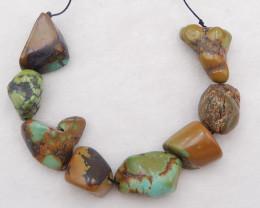 P0322 - 278.5Ct NaturaL Turquoise Freeform Pendant Beads Strand,Natural Gem
