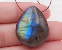 P0325 - 32cts Natural Labradorite Water Drop Gemstone Pendant Bead, healing