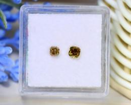Yellow Diamond 0.48Ct 2Pcs Untreated Genuine Fancy Diamond C1835