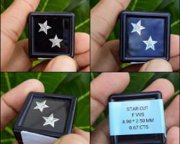 0.67 Ct of 10 pcs Pie-Cut Star Pair F VVS Natural White Diamonds Matching S