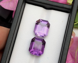Top Grade 10.60 ct lovely Amethyst Pairs Ring Size Pair