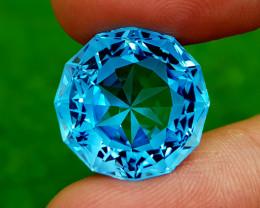 29.25CT PRECISION CUT BLUE TOPAZ BEST QUALITY GEMSTONE IIGC75