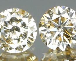 *Bidding Starts $15 NR* Grey Diamond Round Brilliant Pair 0.52Ct