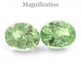 3.55ct Pair Oval Mint Green Garnet from Merelani, Tanzania