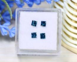 0.66Ct 4Pcs Natural Blue Diamond Princess Cut Genuine Diamond C2105
