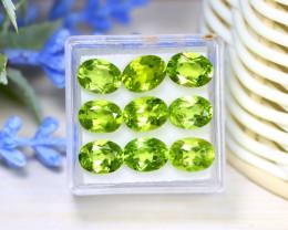 Peridot 12.72Ct 9Pcs Oval Cut Natural Neon Green Color Peridot C2115